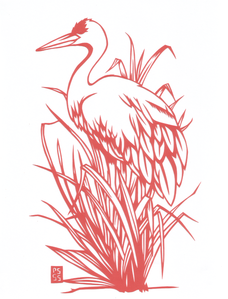 Red Crane - Paper Cut Art picture